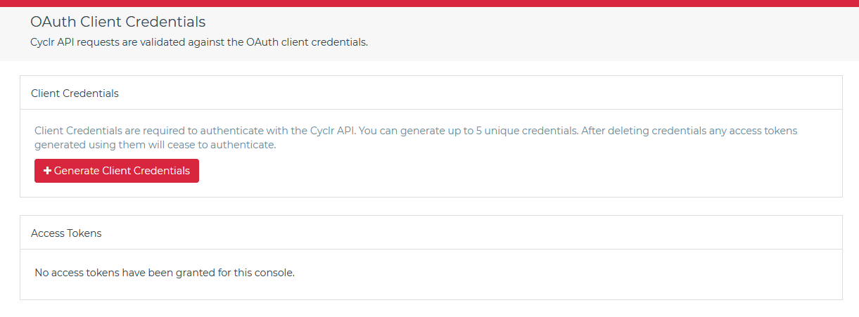 Cyclr Console OAuth Client Credentials