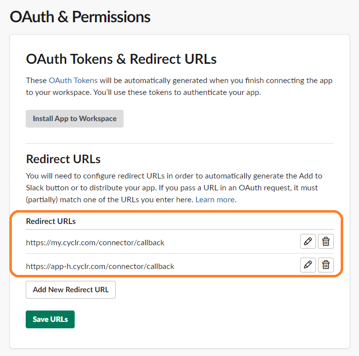 Slack - Redirect URLs